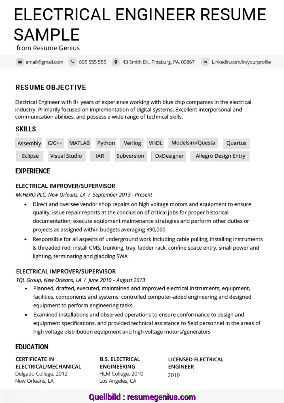 Gut Electrical Engineer Resume Example & Writing Tips, Resume Genius