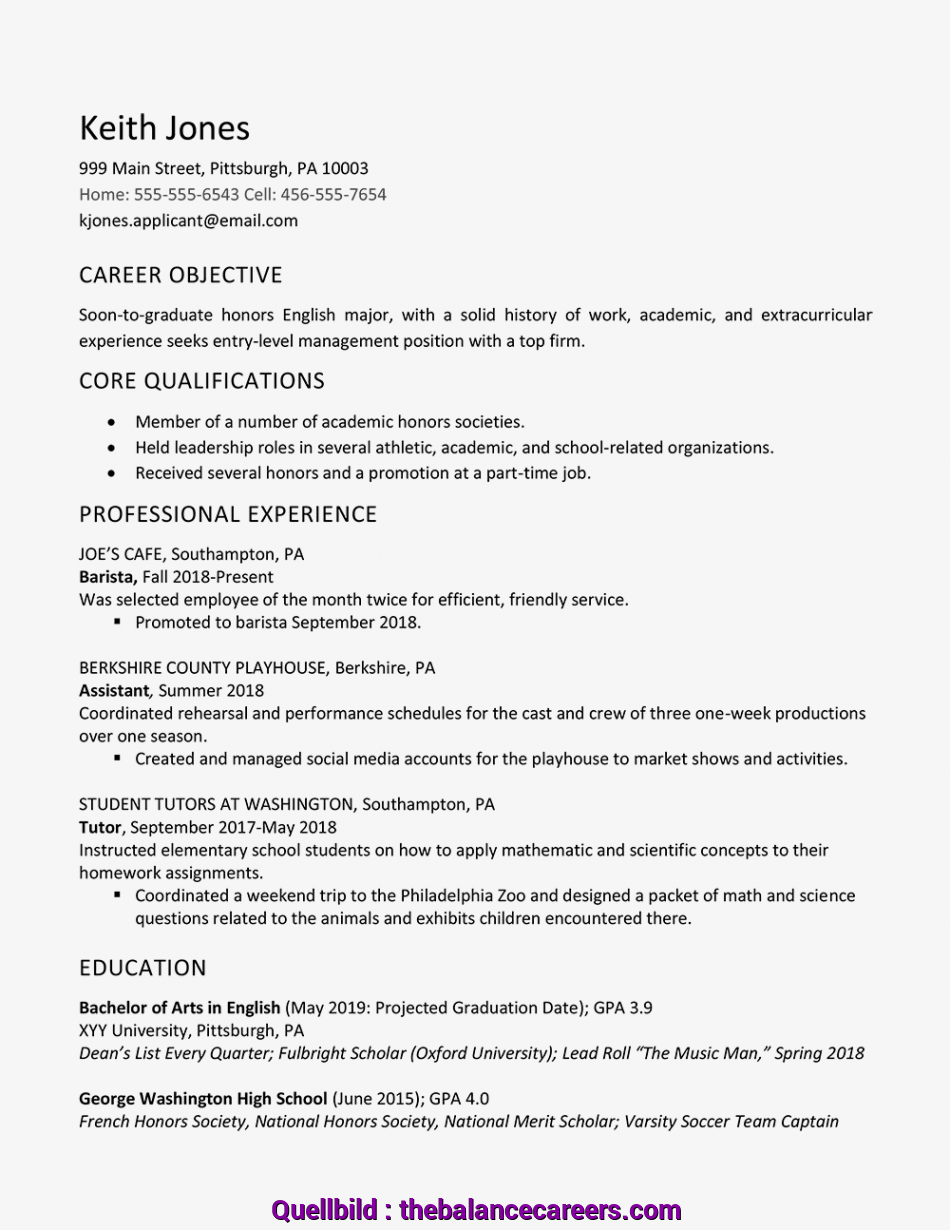 Erweitert High School Graduate Resume Example, Work Experience