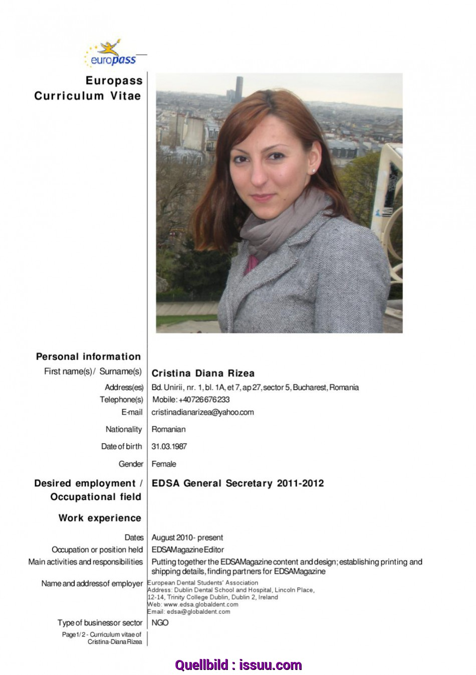 Primär CV-English-CristinaRizea By European Dental Students' Association, Issuu