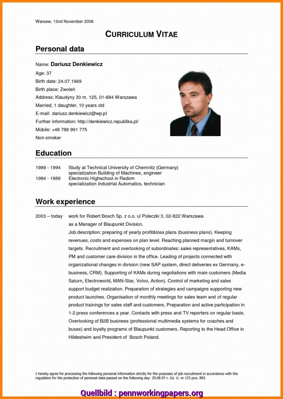 Briliant 11+ English Cv Example Download, Penn Working Papers