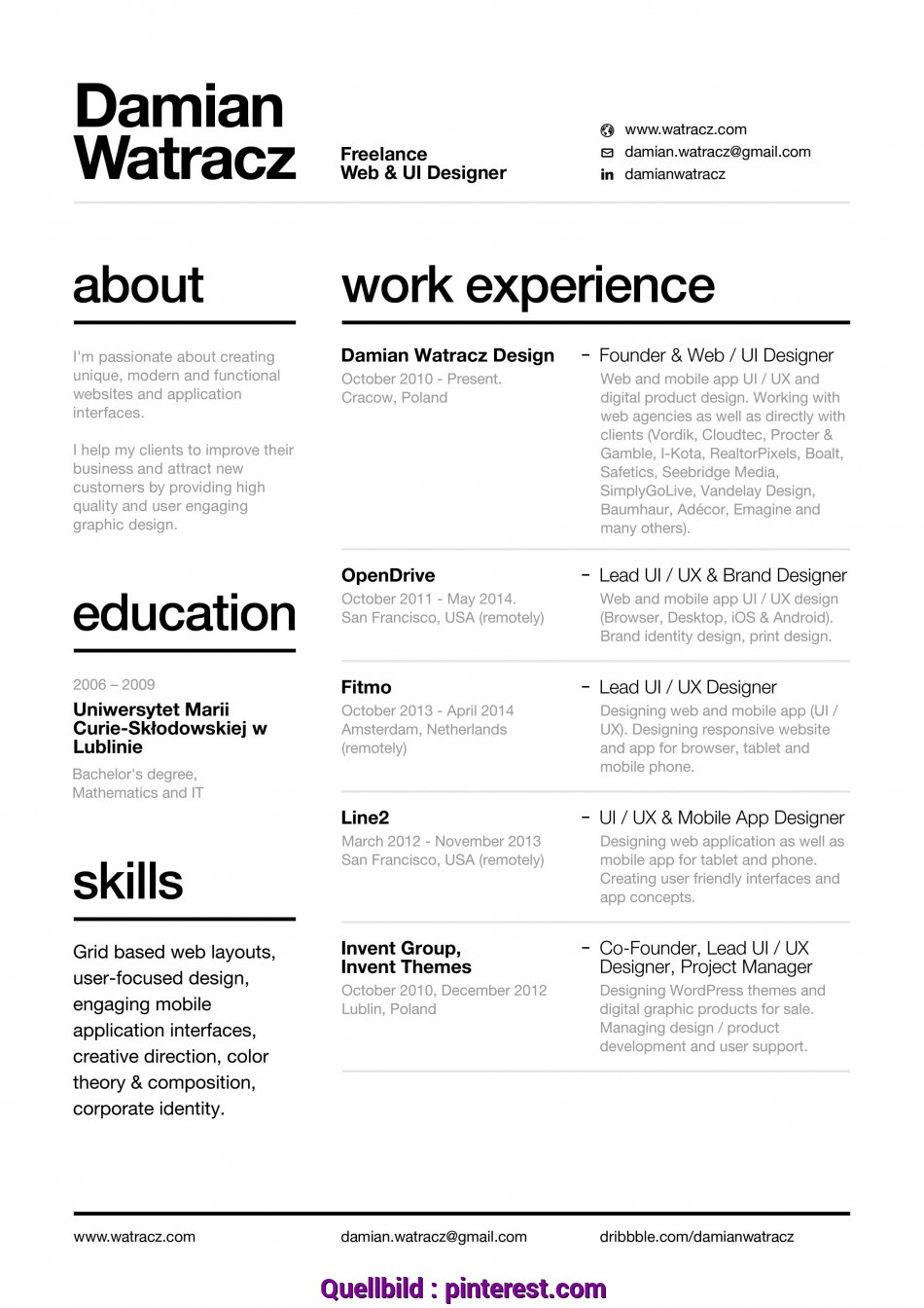 Briliant Resume With Nice Layout & Easy To Read Font, Design, Pinterest