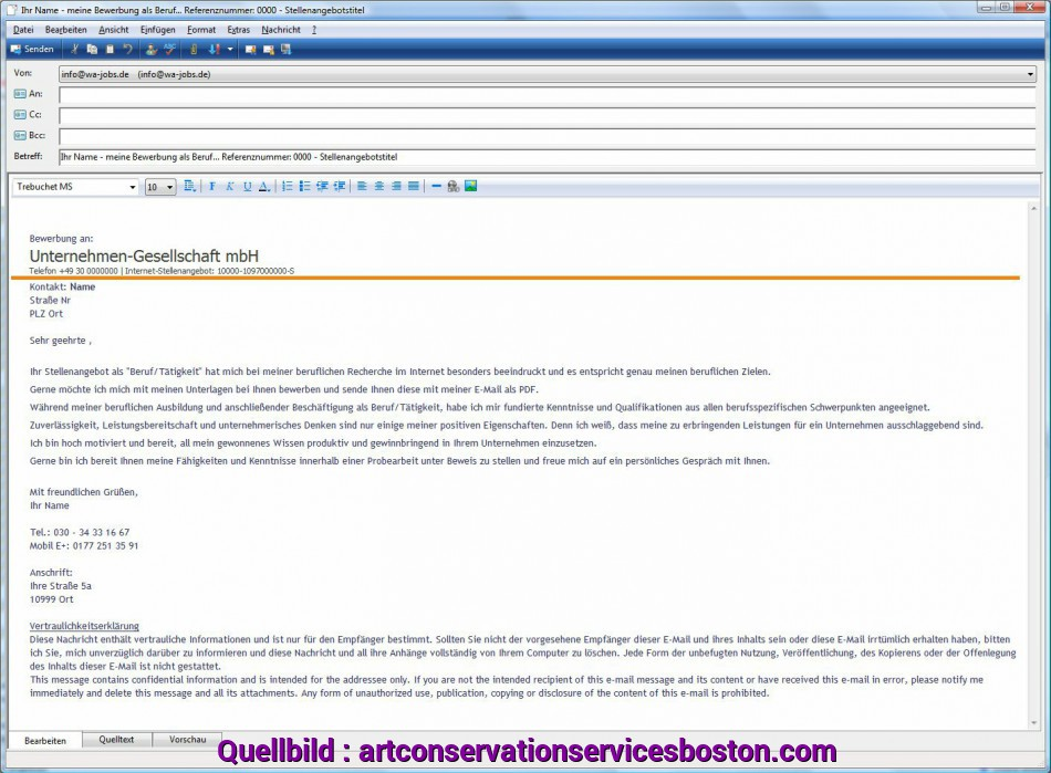 Neueste 14+ E-Mail Bewerbung Text, Artcon Servation Services Boston