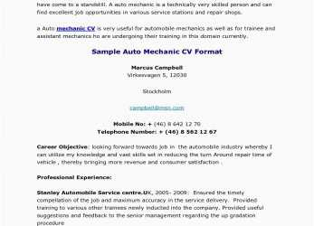 Perfekt Professional Cv, American Resume Model Luxury Auto Mechanic