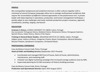 Prime International Curriculum Vitae Example, Writing Tips