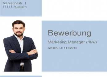 Trending Deckblatt Bewerbung 29, Muster Marketing Manager / Marketing Spezialist / Projektmanager / Projektleiter