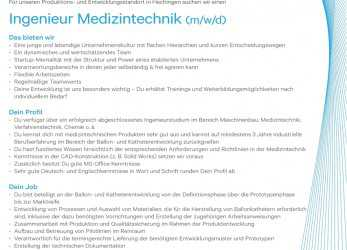 Detail Ingenieur/In, Medizintechnik In Hechingen