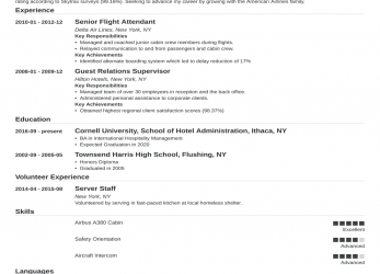 Vorhanden Flight Attendant Resume: Sample & Complete Guide [20+ Examples]