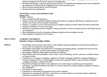 Qualifiziert Download English Language Instructor Resume Sample As Image File