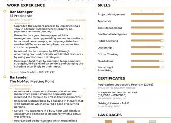 Prämie Bar & Restaurant Manager Resume Example, Update Yours, 2019