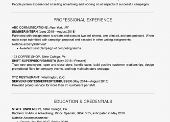 Komplett Screenshot Of A College Student Resume Example