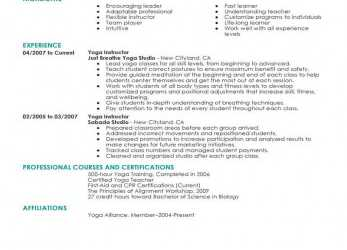 Erweitert Best Yoga Instructor Resume Example, LiveCareer