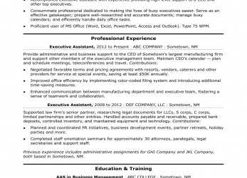 Perfekt Executive Administrative Assistant Resume Sample, Monster.Com