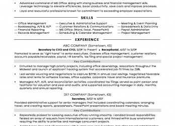 Praktisch Secretary Resume Sample, Monster.Com