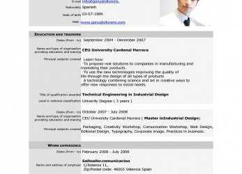 Kostbar ... Cv European Format English, Example Word Model Online Resume Template Free