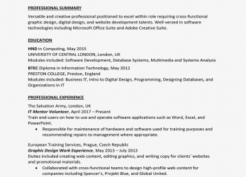 Komplex United Kingdom Curriculum Vitae (CV) Example