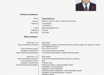 Beste Europass Cv English Example, Cv Examples Europass English Cv