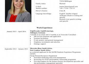 Perfekt CV Of Justine Lenze