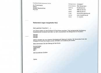 Neueste Reklamation Defekter Ware: Rechtssicherer Musterbrief, Download