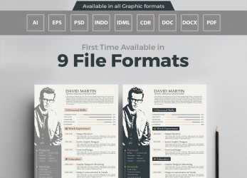 Oben Simple, Professional Resume (CV) Design Templates In, EPS, PSD, PDF, CDR, DOC, DOCX, INDD & IDML