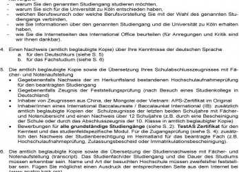 Primär Uni Koln Bewerbung Informationen, International Office, Pdf
