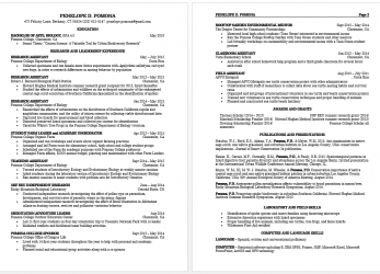 Detail How To Write A Curriculum Vitae, Pomona College In Claremont