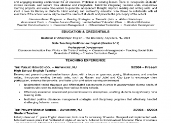 Liebling English Teacher Resume Example Shows, Educator'S Ability To Effectively Motivate Students To Develop Strong Critical Thinking Skills